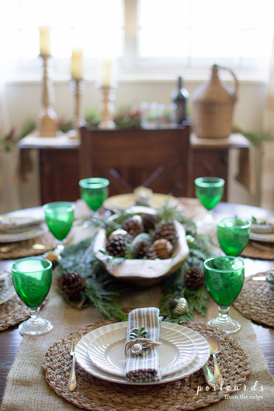 farmhouse table setting with vintage ironstone dishes