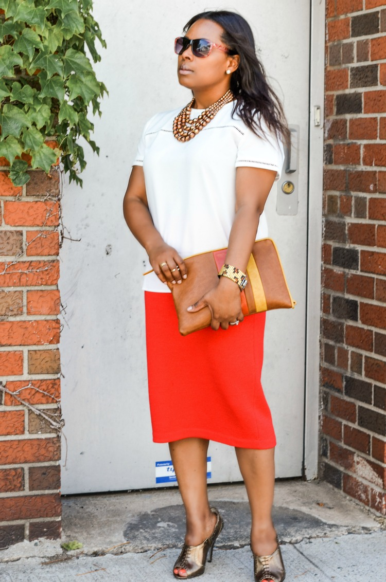 Red Tube Midi Skirt White Rowme Top and Stripes Clutch