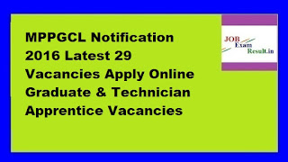 MPPGCL Notification 2016 Latest 29 Vacancies Apply Online Graduate & Technician Apprentice Vacancies