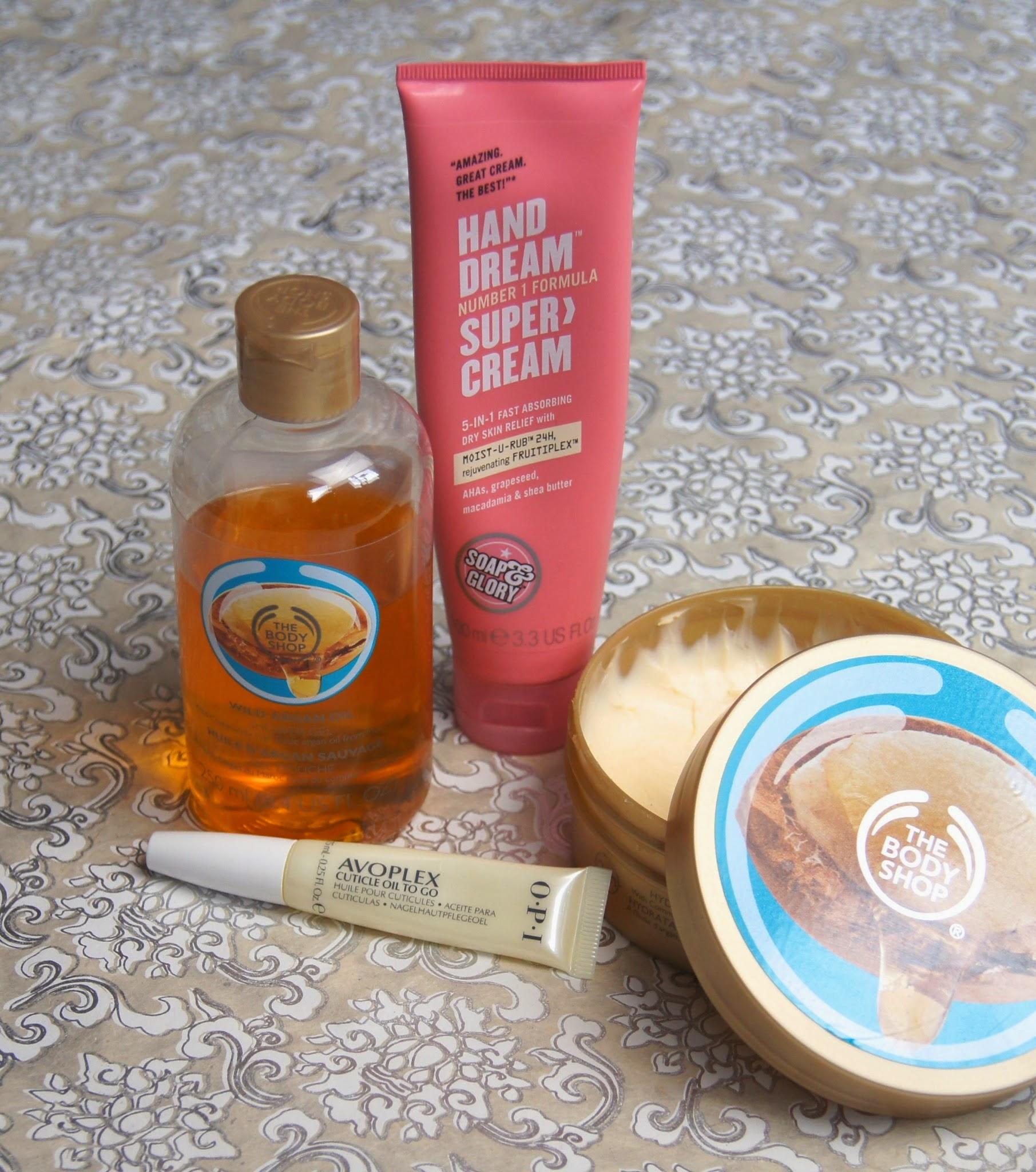 winter skin body care essentials dry eczema-prone scaly flakey shower oil body butter nail oil hand cream