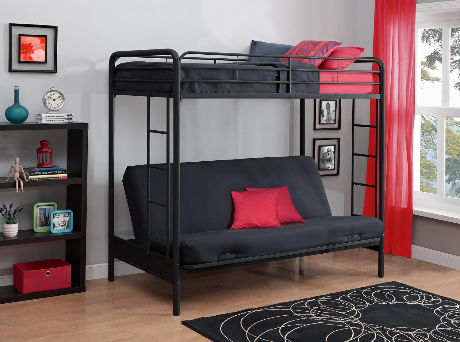 Metal Amp Wood Loft Beds With Sofa Underneath