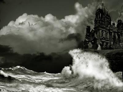 Dibujo de una mansión sobre el mar tempestuoso del poema Annabel Lee de Poe