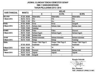 Jadwal Ulangan Tengah Semester Genap Tahun 2015/2016