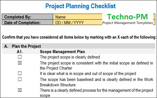 Project Planning Checklist, project checklist template, project checklist