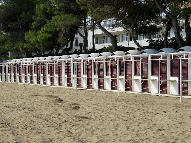 Beach cabins at a seaside resort, Lungomare Guglielmo Marconi, Lido di Venezia, Venice