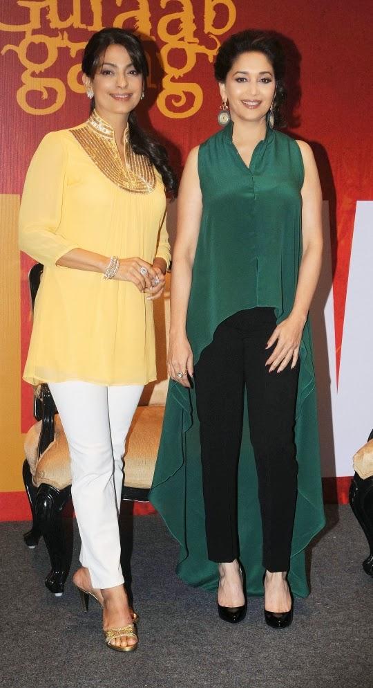 Stunning divas Madhuri Dixit and Juhi Chawala during Gulaab Gang promotion