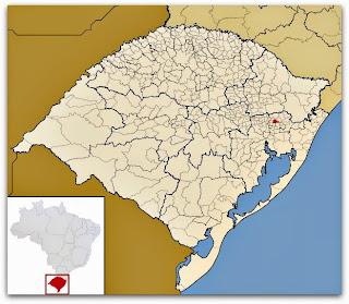 Cidade de Morro Reuter, no mapa do Rio Grande do Sul