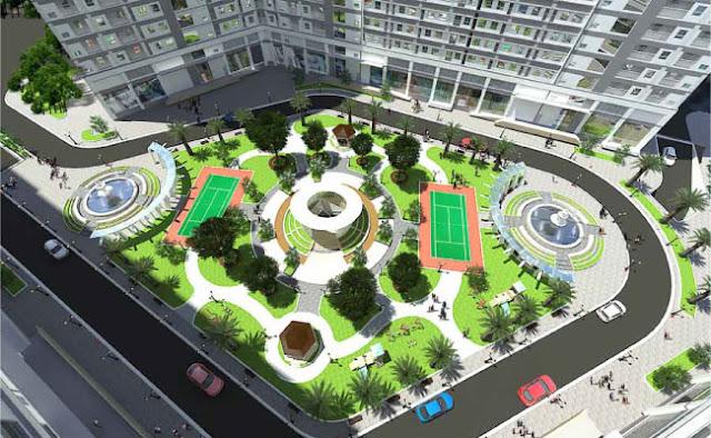 Phối cảnh khuôn viên dự án Xuân Mai Sparks Tower