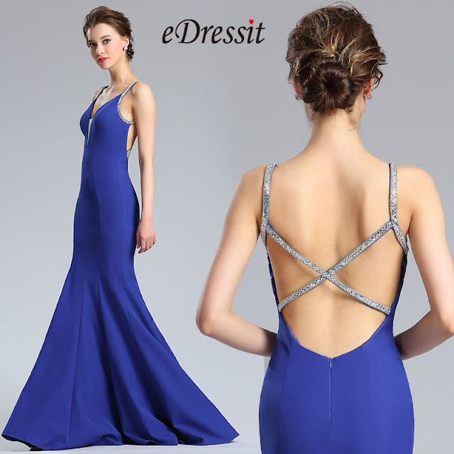 Persian Blue Sleeveless Long Mermaid Prom Dress