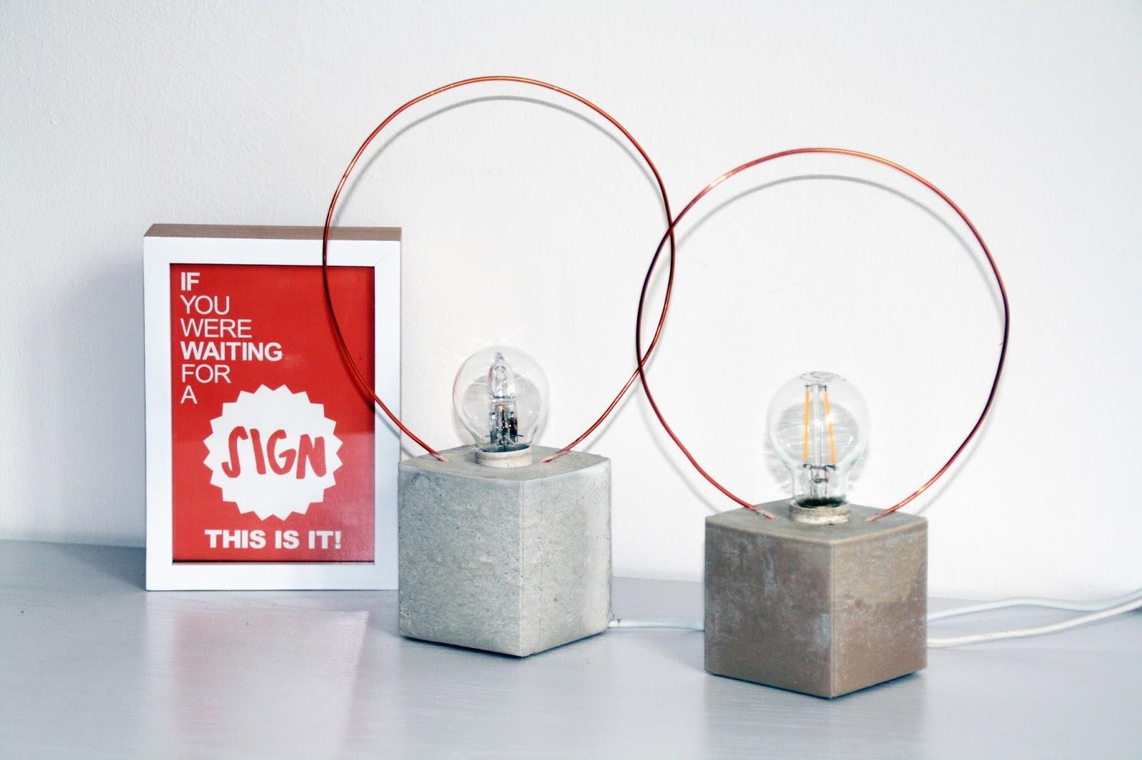 sehnsuchtssachen tisch lampe aus beton und kupferdraht. Black Bedroom Furniture Sets. Home Design Ideas