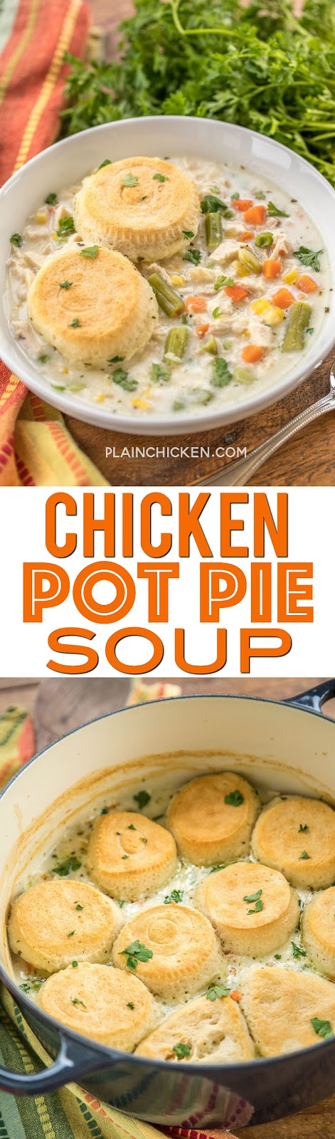 Chicken Pot Pie Soup - comfort in a bowl! Quick homemade soup with biscuits baked on top. Chicken, chicken broth, mixed vegetables, seasonings, and refrigerated biscuits. Ready in 30 minutes! Everyone LOVED this soup!!! So easy!! #soup #chicken #onepotmeal #comfortfood