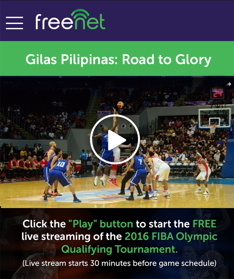 Watch Gilas Pilipinas game for free using freenet app