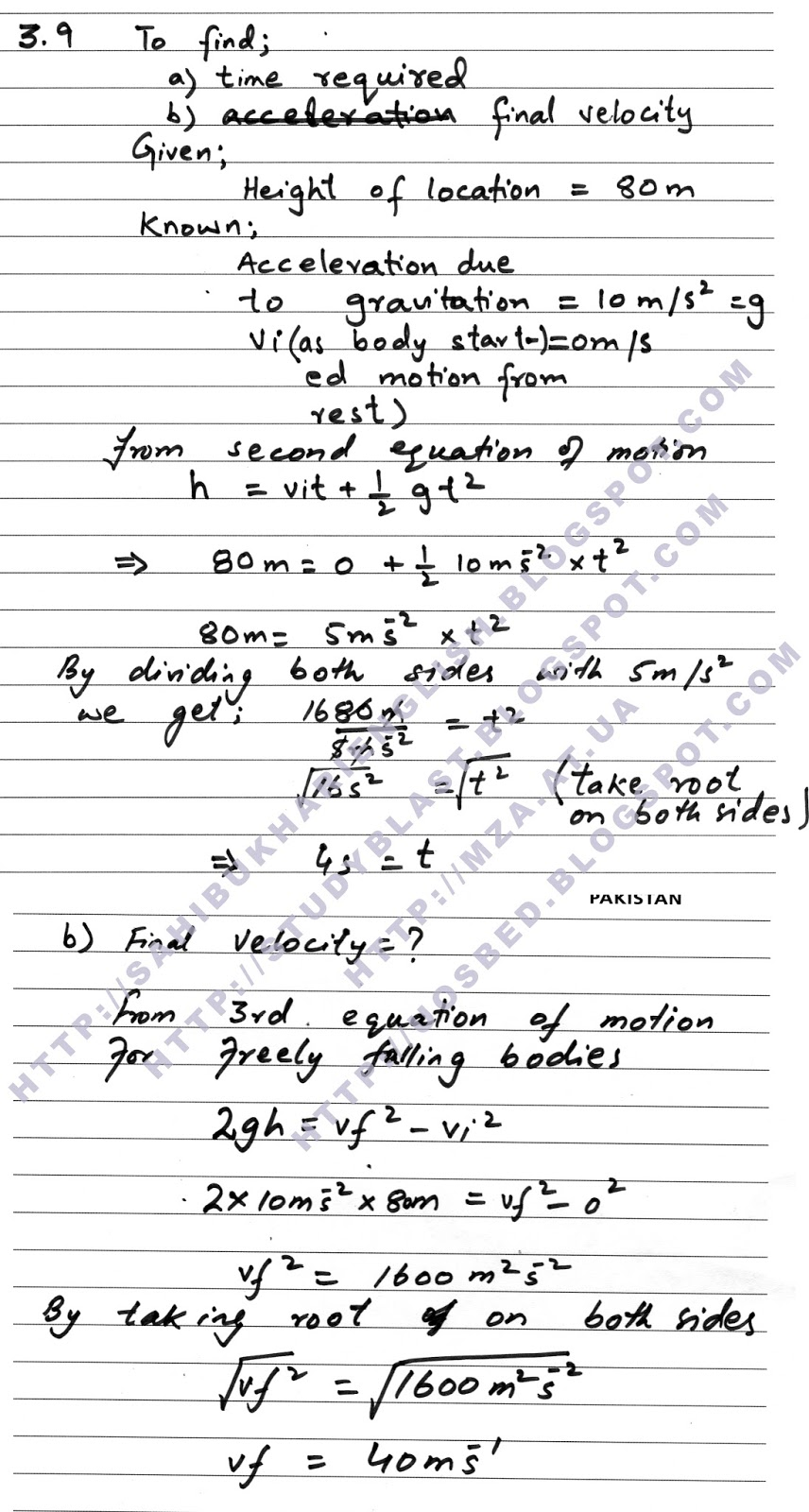 physics notesm physics numerical problems al muslim library  physics numerical problems solved problem number 9 chapter3
