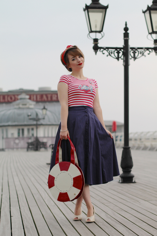 Nautical 50s pin-up style outfit on a pier