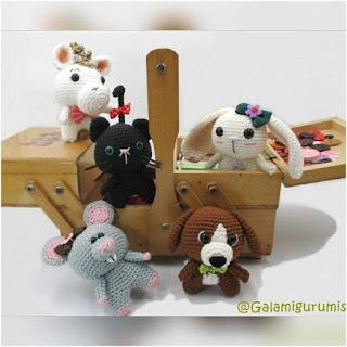 patrón amigurumi raton, conejo, caballo, gato, perro galamigurumis