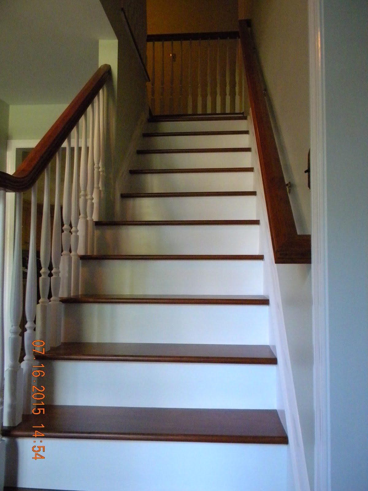 Wood Stairs And Rails And Iron Balusters Brazilian Cherry