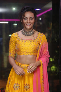 Seerat Kapoor looks super cut ein yellow ghagra Choli as she launches Akruthi designer studio ~ Celebrities Galleries
