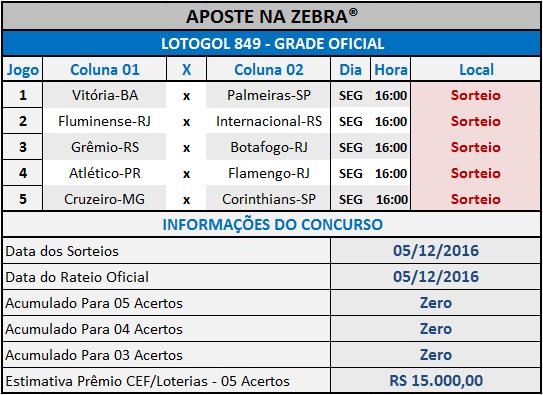 LOTOGOL 849 - PROGRAMAÇÃO / GRADE OFICIAL 04