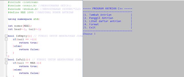 Contoh Program Queue c++ dan penjelasan