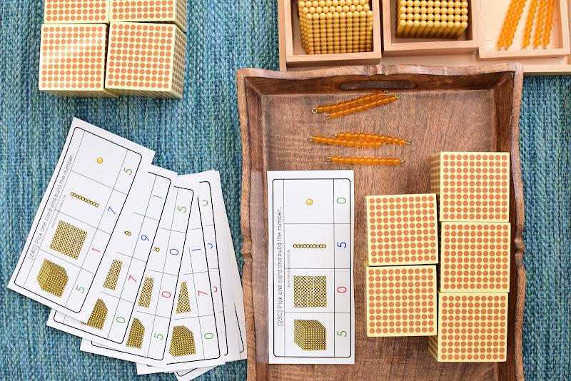 Montessori Golden Beads Base 10 Task Cards