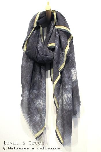 Foulard gris jaune Lovat & Green