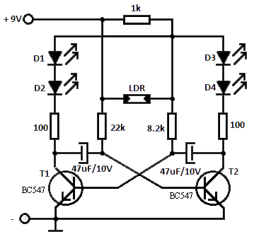 Flashing LED using LDR - Electronic Circuit
