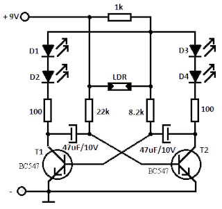 LDR Flashing LED Circuit