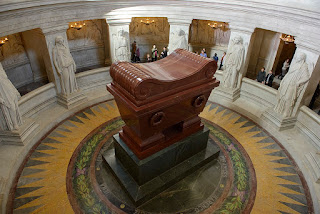 Visconti's magnificent tomb for Napoleon Bonaparte, in red porphyry on a granite base, standing 16ft high