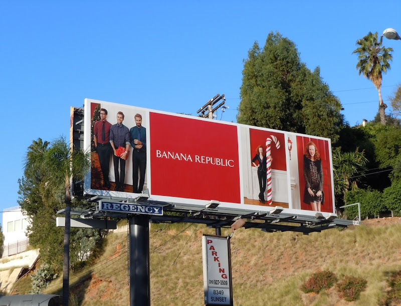 Banana Republic candy cane billboard