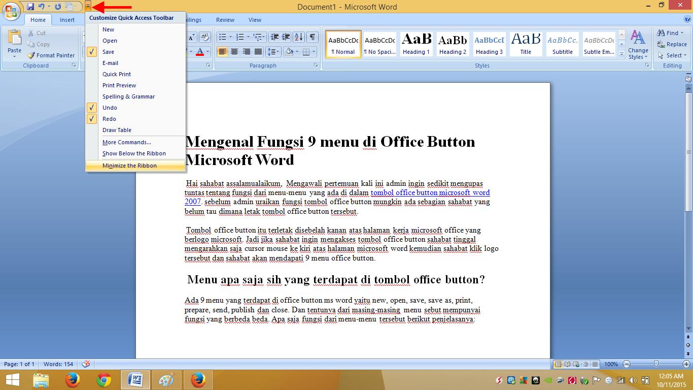 Fungsi Quick Access Toolbar Pada Ms Excel