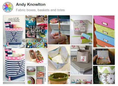 Pinterest board full of great ideas for fabric baskets, boxes and bins