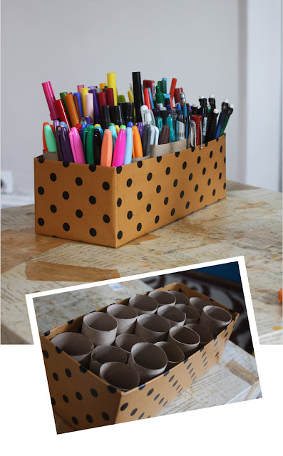 Toilet paper roll art caddy, organizing with toilet paper rolls, organizing.