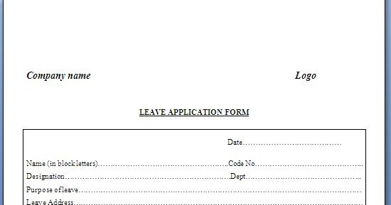 Application For Leave Format Format Of Leave Form Customer – Format of Leave Form
