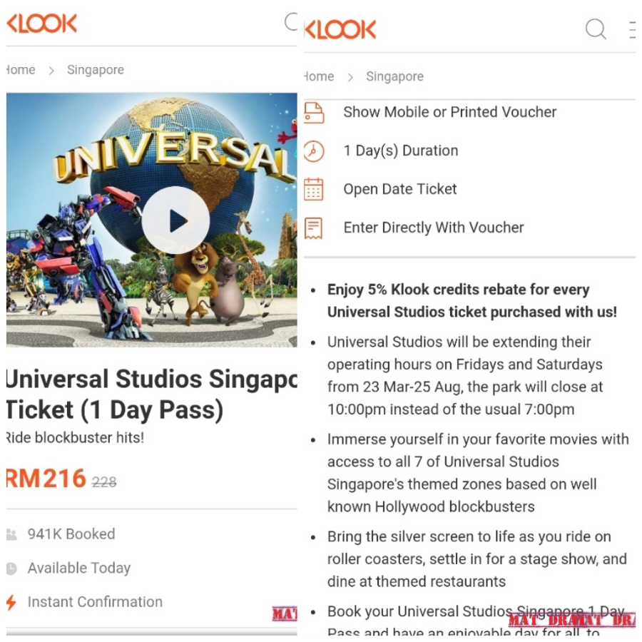 Travelog Mat Drat Tiket Murah Uss Universal Studio