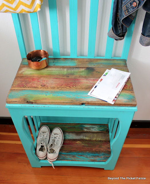 add brightly painted pallet boards to upcycle a hall tree
