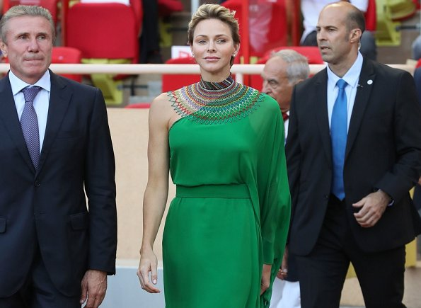 Princess Charlene wore Roland Mouret Henleigh one-shoulder crepe-jersey gown at Louis II Stadium