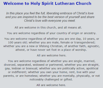 Excerpt from Holy Spirit Lutheran Church (Edmonton) statement about everyone welcome, on their website.