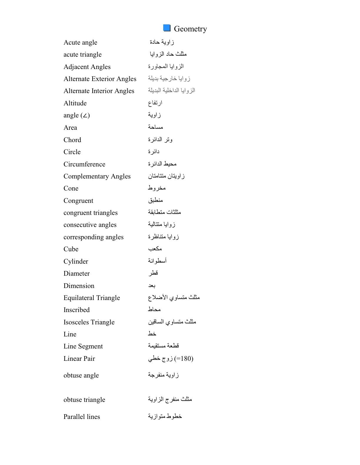 RAK Colleges FND Math: Math Vocabulary--English/Arabic