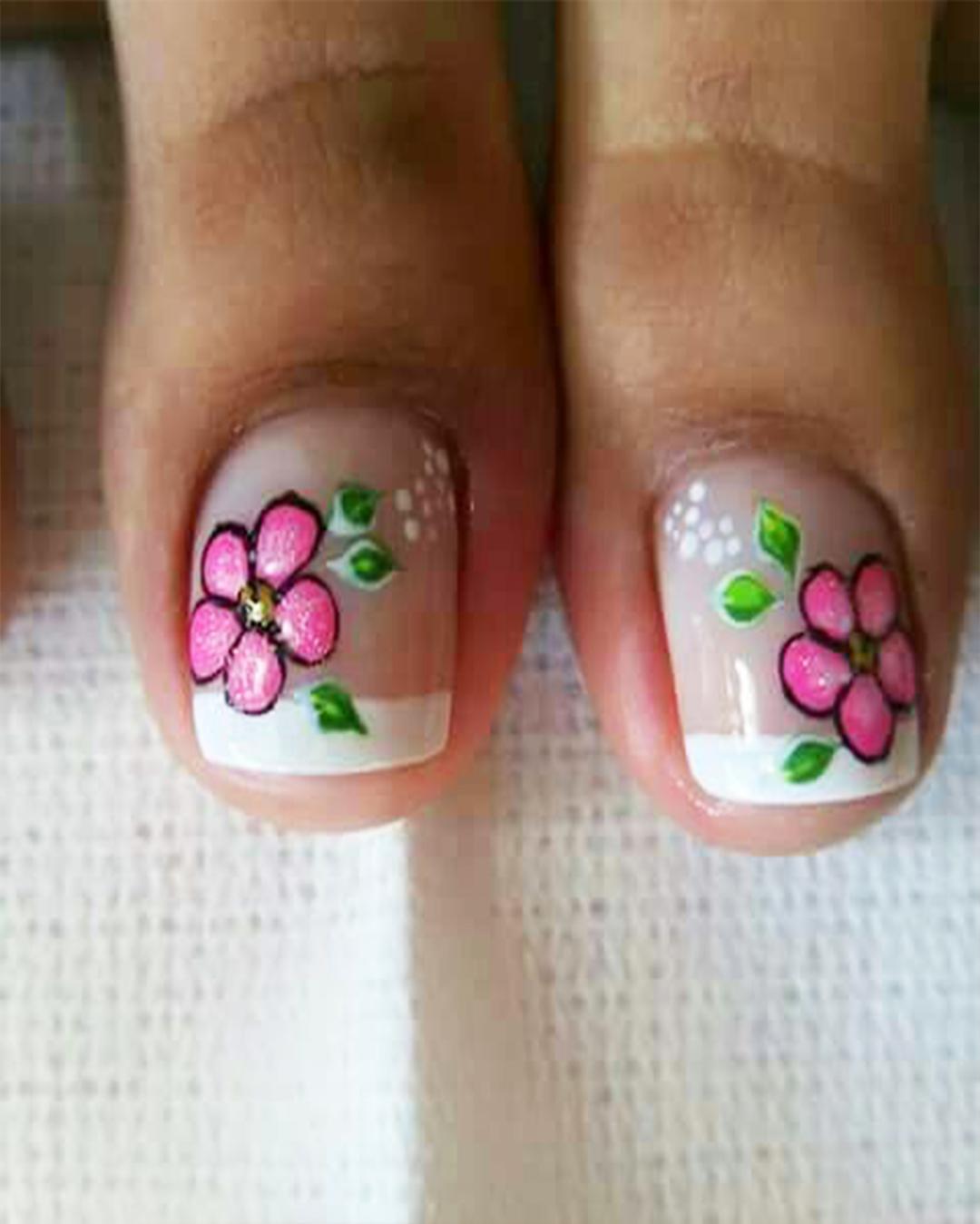Unas Decoradas Con Flores Y Mariposas Para Los Pies Elsexoso