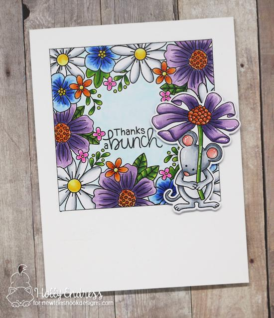 Spring Mouse and Flower Card by Holly Endress | Floral Fringe and Garden Mice Stamp Sets by Newton's Nook Designs #newtonsnook #handmade