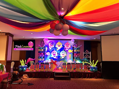 baby shark stage decoration with ceiling drapes