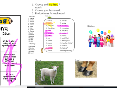 student choice for spelling lists