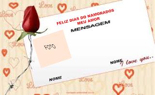 Monta um cartão dia namorados online
