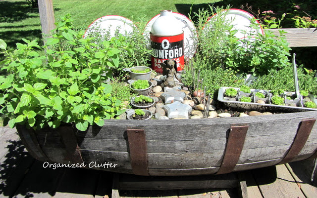 Kitchen Fairy Garden Planted in a Horizontal Barrel