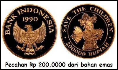 Uang rupiah yang dibuat dari emas hingga mencapai 999,99 %