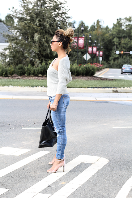 Asymmetrical gray sweater