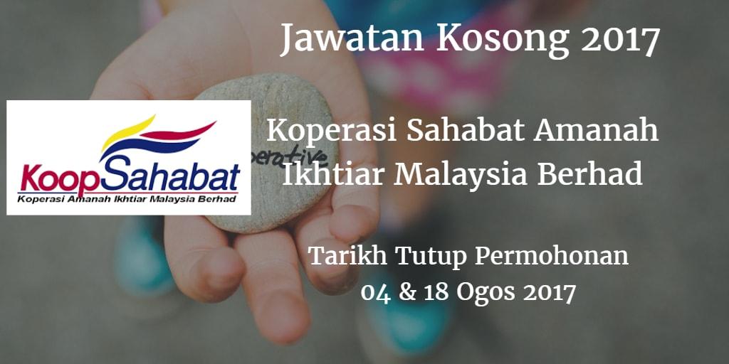 Jawatan Kosong Koperasi Sahabat Amanah Ikhtiar Malaysia Berhad  04 & 18 Ogos 2017