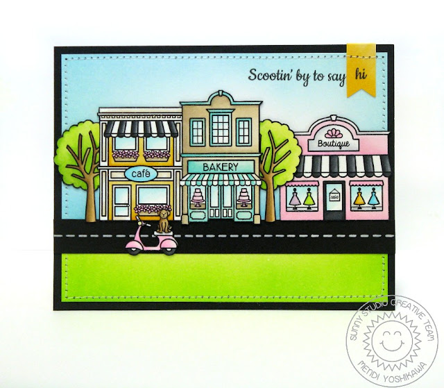 Sunny Studio Stamps: City Streets Card by Mendi Yoshikawa (with Trees from Happy Home)