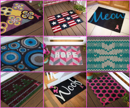 carpet one breast cancer welcome mat designs collage