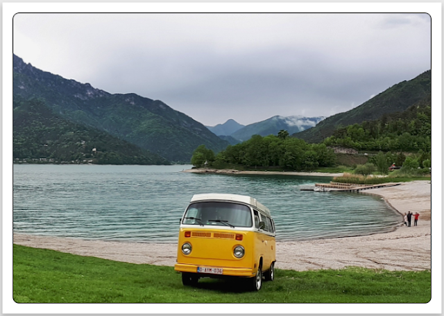 Volkswagen Type 2 Westfalia bus in Trentino, Italy